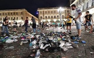 Live: Carlo's Square in Turin which was abandoned when football fans watching the UEFA Champions League final soccer match between Juventus  and Real Madrid, fled the area in panic