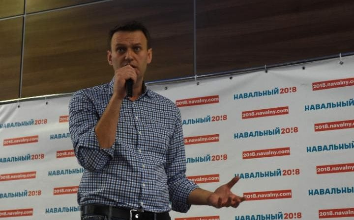 Mr Navalny addresses his campaign volunteers during their meeting in Tver on 29 May 2017