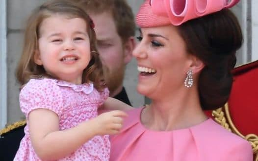 The Duchess of Cambridge and Princess Charlotte watch Trooping the Colour