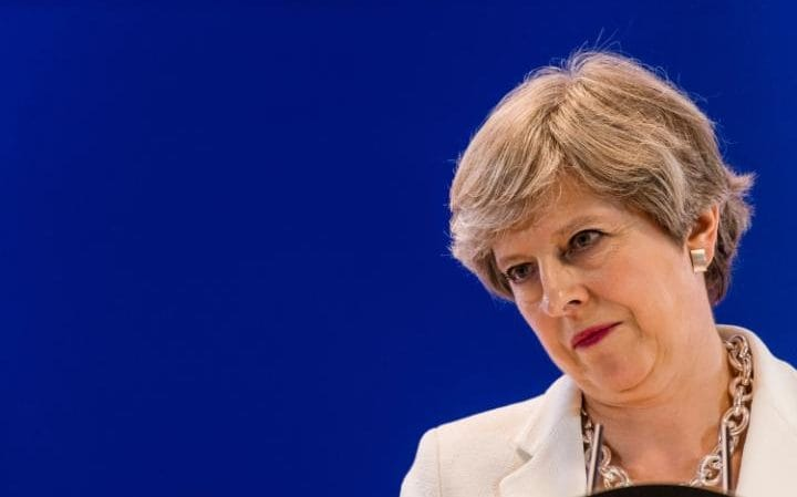 Theresa May holds a press conference in Brussels on Friday afternoon