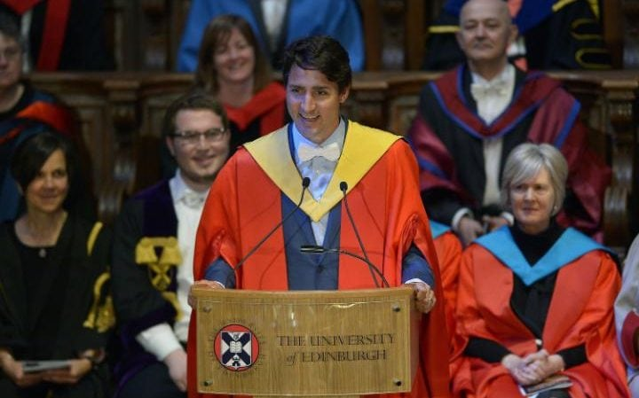 Canadian Prime Minister Justin Trudeau has received an honorary degree at Edinburgh University