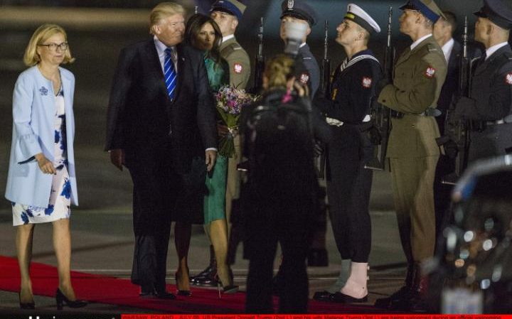 Air Force One touched down in Warsaw late on Wednesday