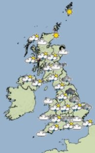 The weather forecast for 1pm today