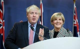 Boris Johnson and Australian Foreign Minister Julie Bishop attend a joint press conference