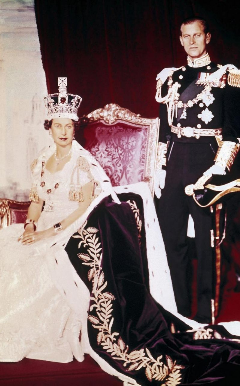 Queen Elizabeth II and the Duke of Edinburgh pose on the Queen's Coronation day