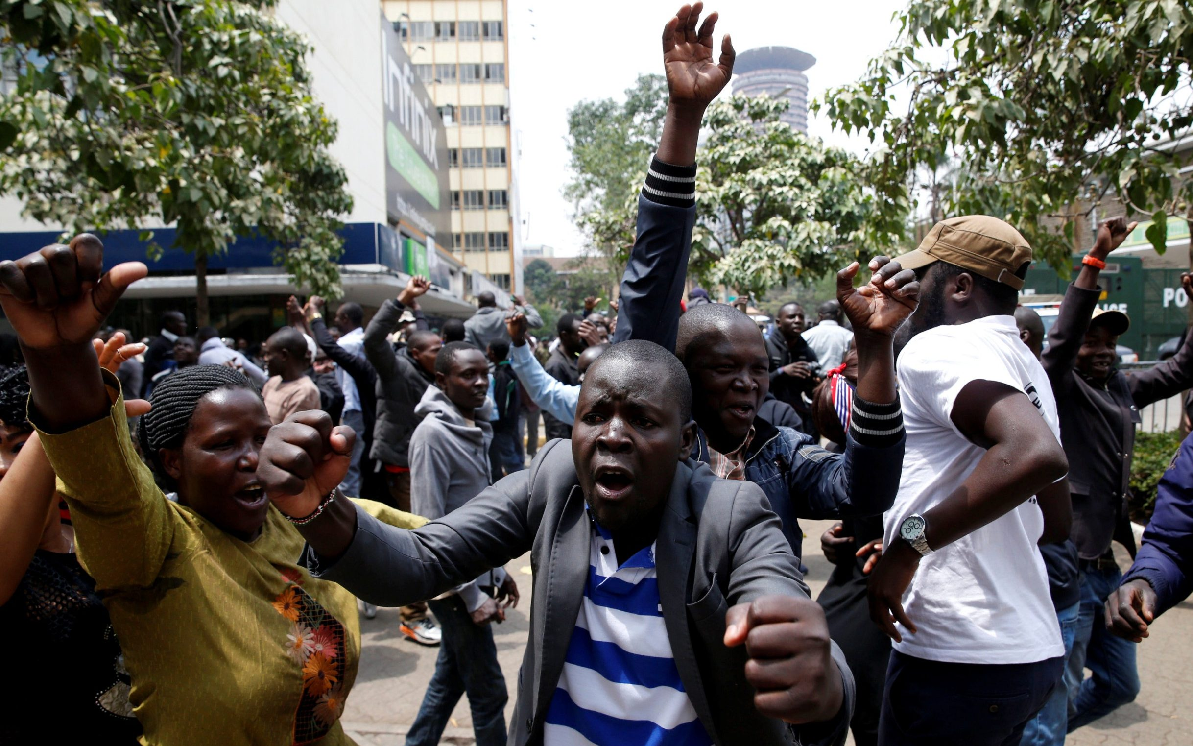 Celebrations in downtown Nairobi after a re-election is called