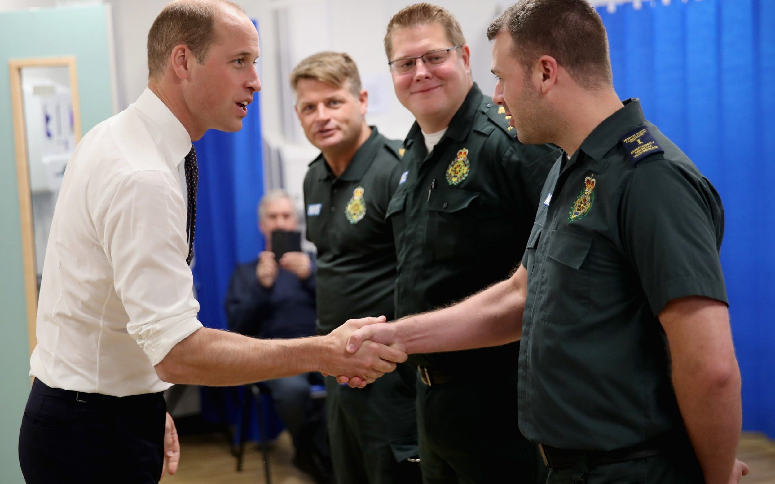 Prince William, Duke of Cambridge meets hospital staff
