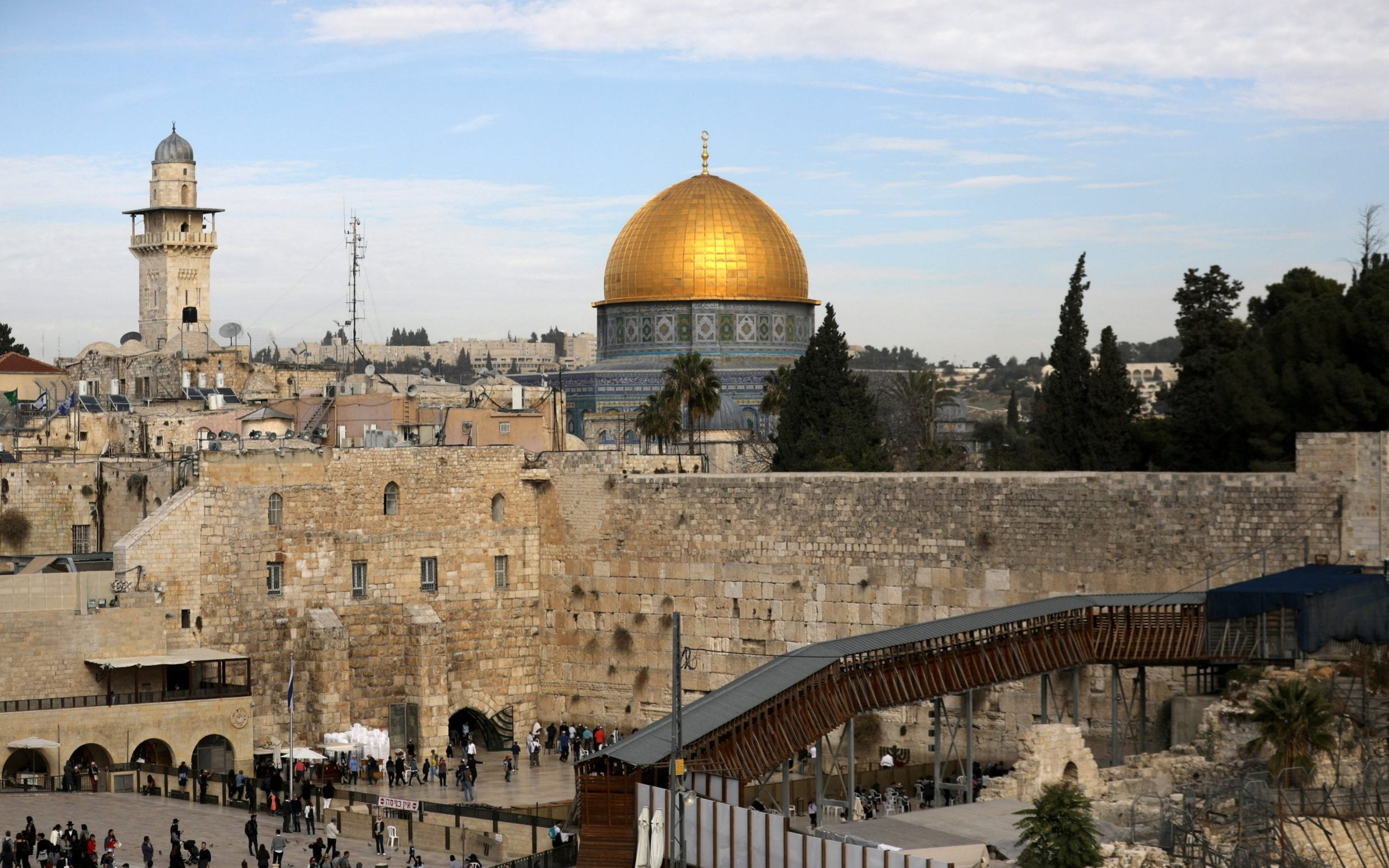 The Western Wall, Judaism's holiest prayer site, in the foreground
