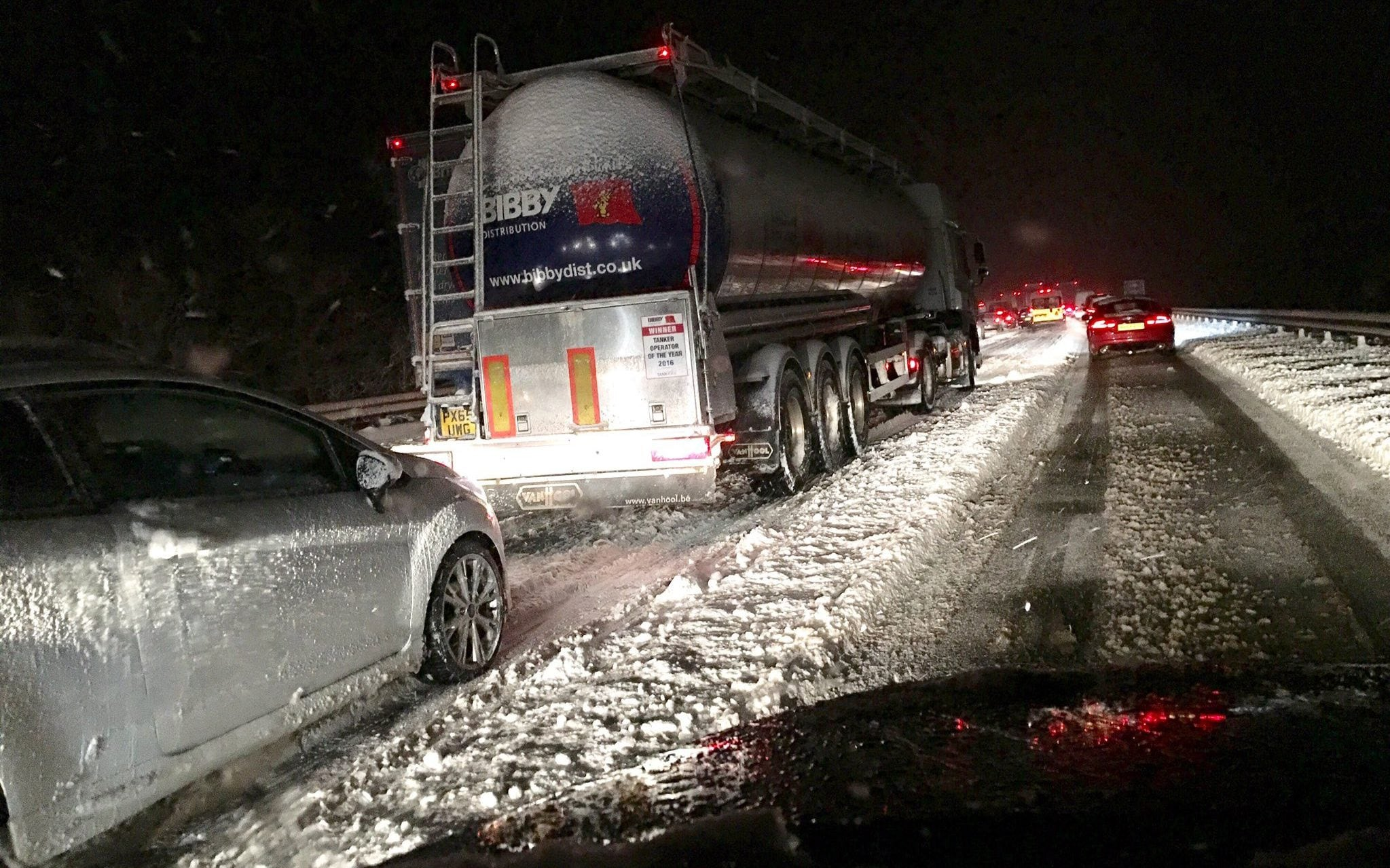 This tanker on #M74 is skidding backwards and starting to jackknife