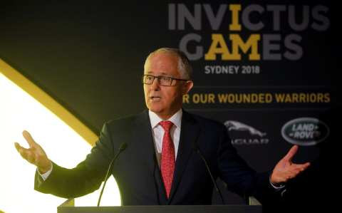 Malcolm Turnbull, Prime Minister of Australia speaks at a reception