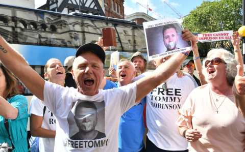 Jubilant Tommy Robinson supporters celebrate outside court