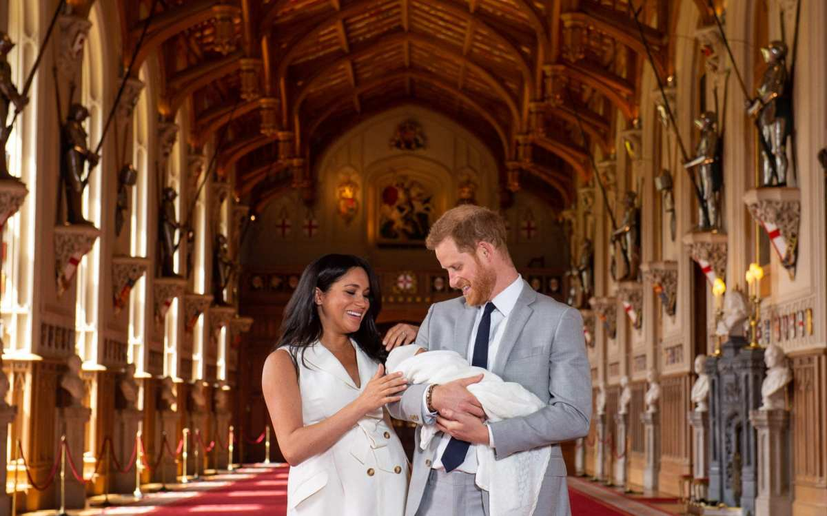 The Sussexes with their son Archie Harrison Mountbatten-Windsor shortly after his birth