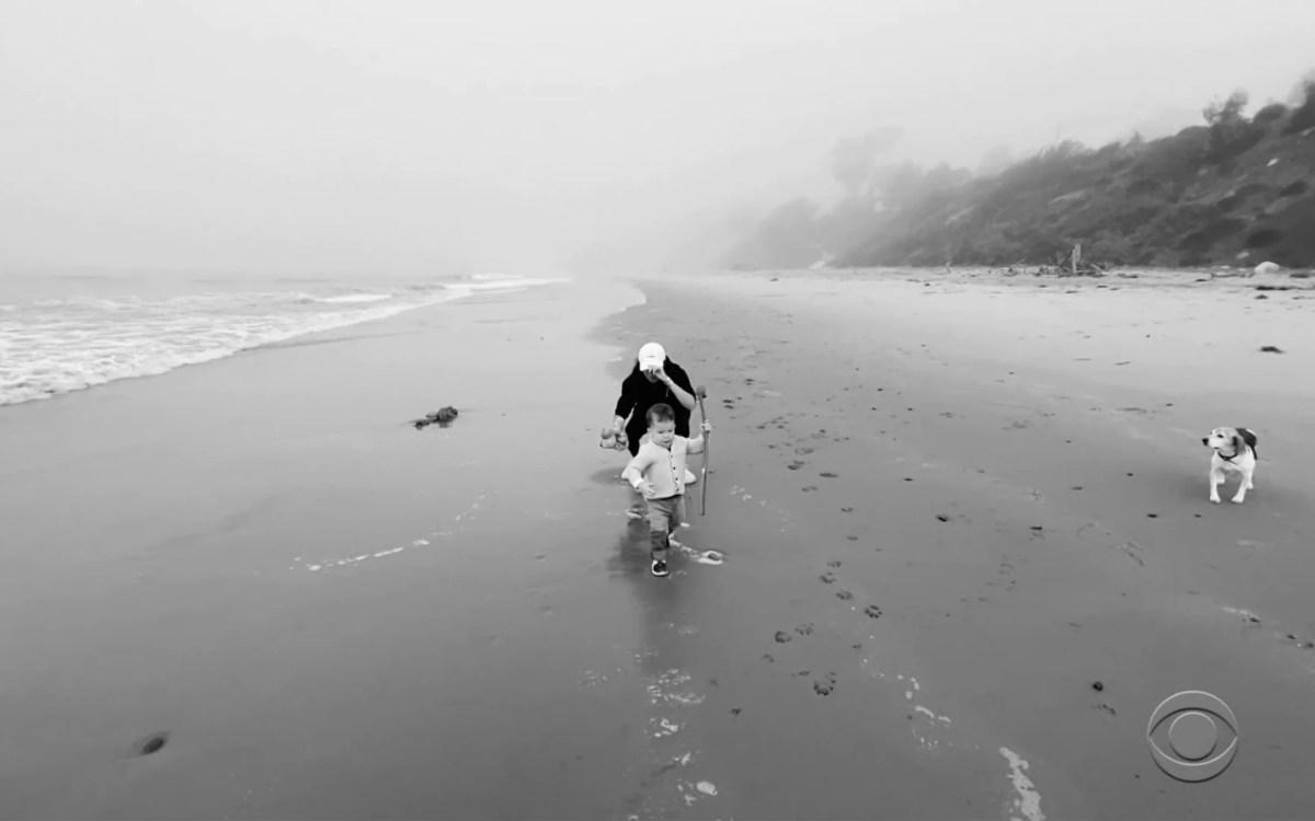 Archie running along the beach