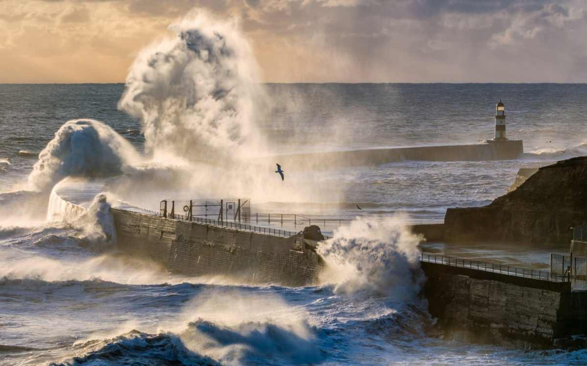 Stormy seas in Seaham,County Durham on Easter Monday morning as the bad weather returns with snow and high winds forecast for some parts of the country