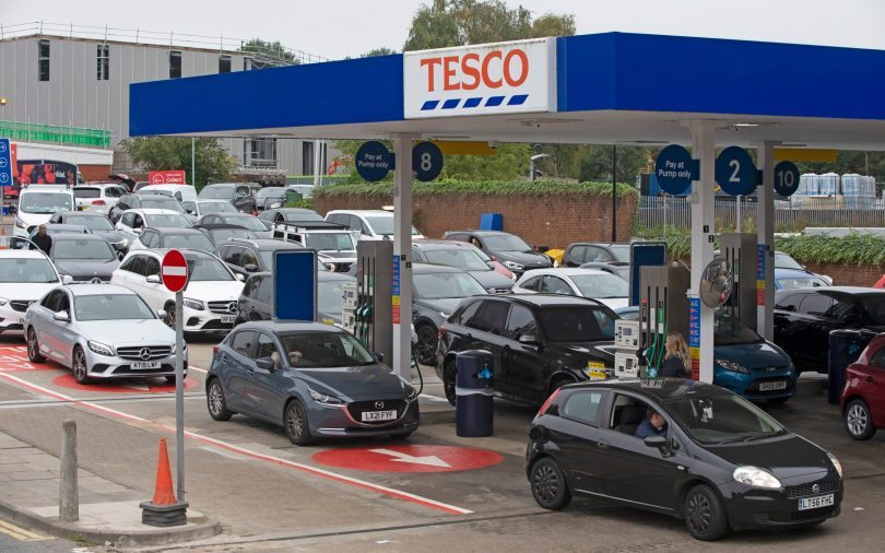 Motorists panic buying fuel on Saturday morning at a Tesco petrol station in Sidcup