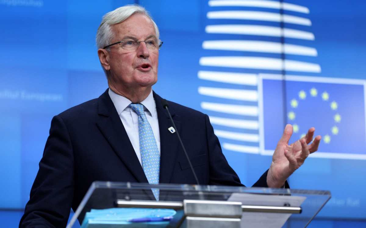 European Commission's Head of Task Force for Relations with the United Kingdom Michel Barnier gives a press conference on the first day of the face-to-face European Union (EU) summit at the European Council Building in Brussels, on October 15, 2020