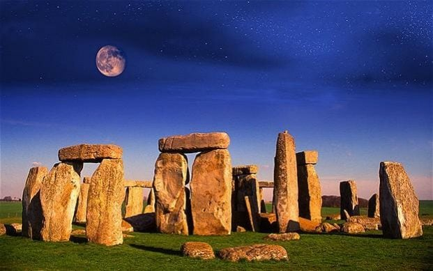Moonrise over Stonehenge in Wiltshire