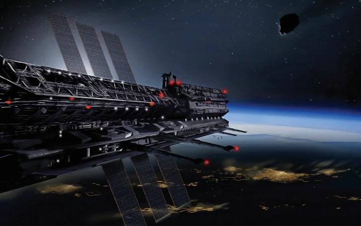 La impresión de un artista de la pantalla cósmica que protegerá a la Tierra de los asteroides