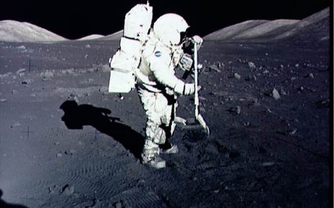 Jack Schmitt collecting Moon rocks in 1972