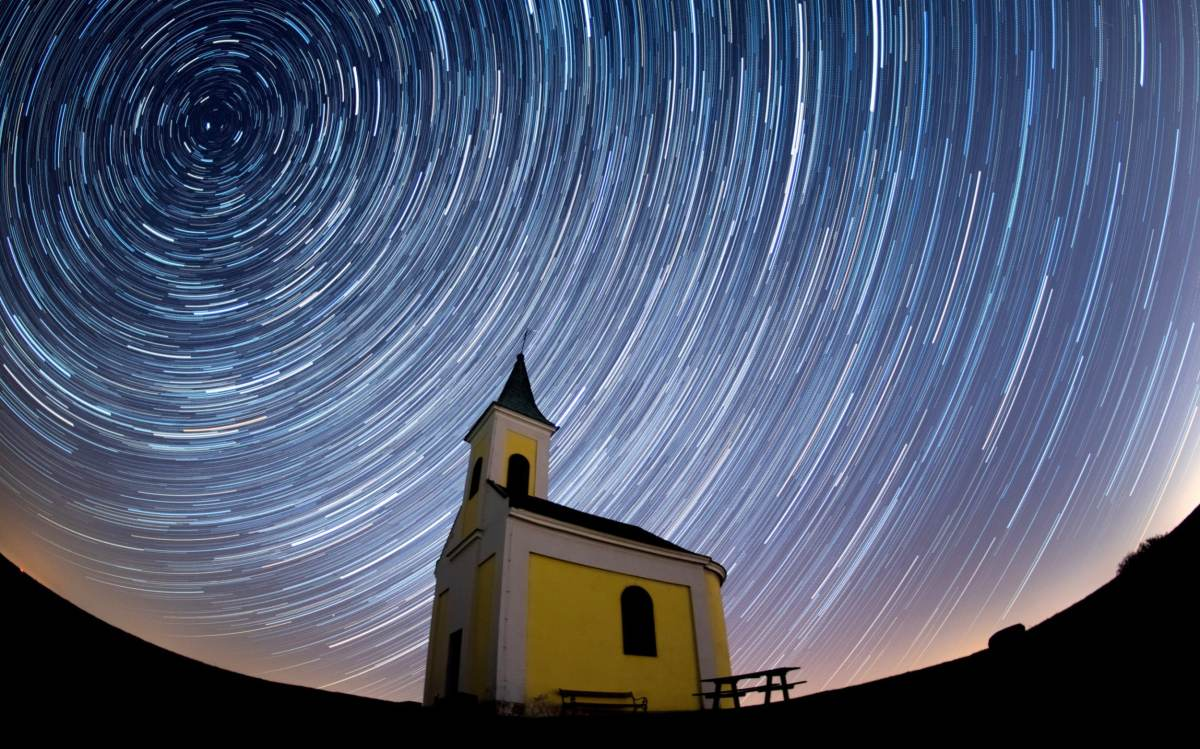 Lyrids meteor shower over Michaelskapelle on April 21, 2020 in Niederhollabrunn, Austria
