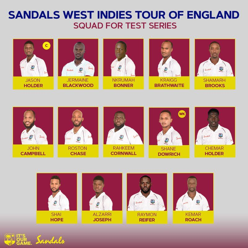 West Indies squad to tour England