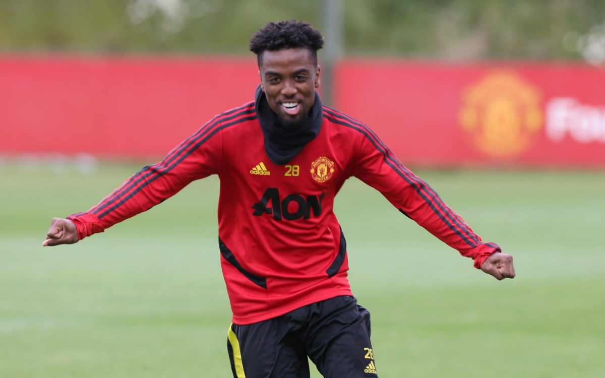 Angel Gomes of Manchester United in action during a first team training session at Aon Training Complex on June 08, 2020 in Manchester, England.