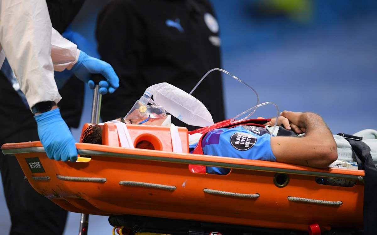 Eric Garcia of Manchester City receives medical treatment during during the English Premier League soccer match between Manchester City and Arsenal FC at Etihad stadium in Manchester, Britain, 17 June 2020