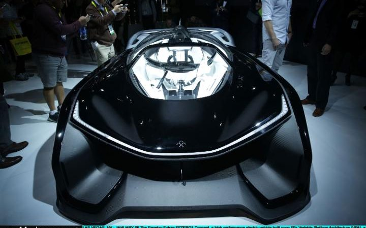 The Faraday Future FFZERO1 Concept, a high performance electric vehicle, on display at CES 2016 at the Las Vegas Convention Centre on January 6