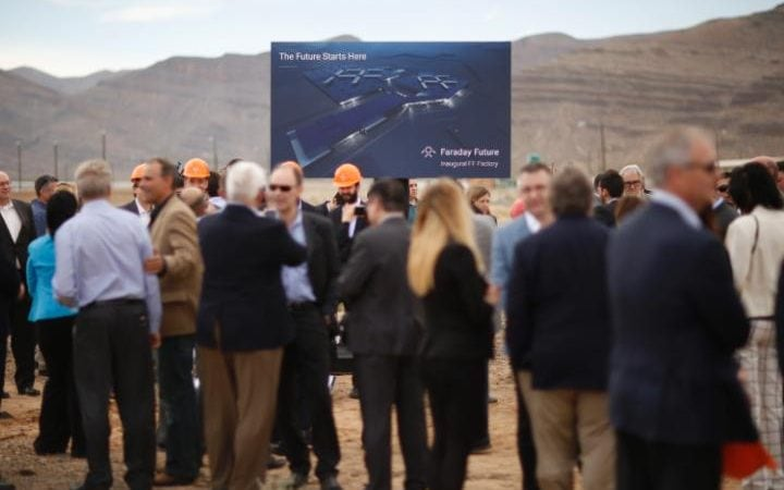 People attending the event as construction starts on a Las Vegas-area production plant