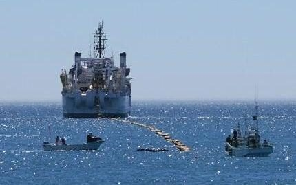 Boats laying undersea cables