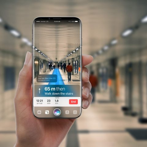 iPhone 8 concept showing augmented reality directions