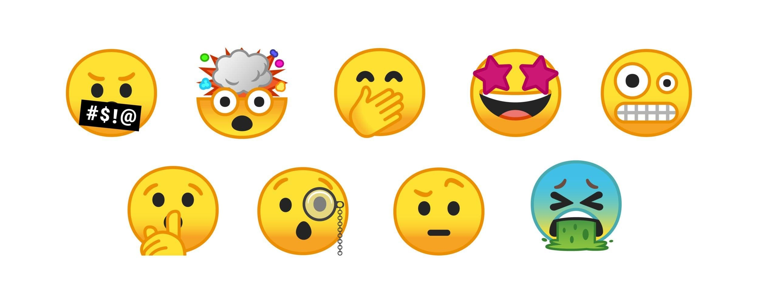 A selection of the new emoji coming to Android