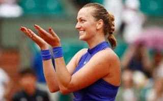 Petra Kvitova celebrates her victory over Julia Boserup at the 2017 French Open