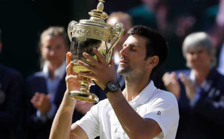Image result for Novak Djokovic wins fourth Wimbledon by beating Kevin Anderson