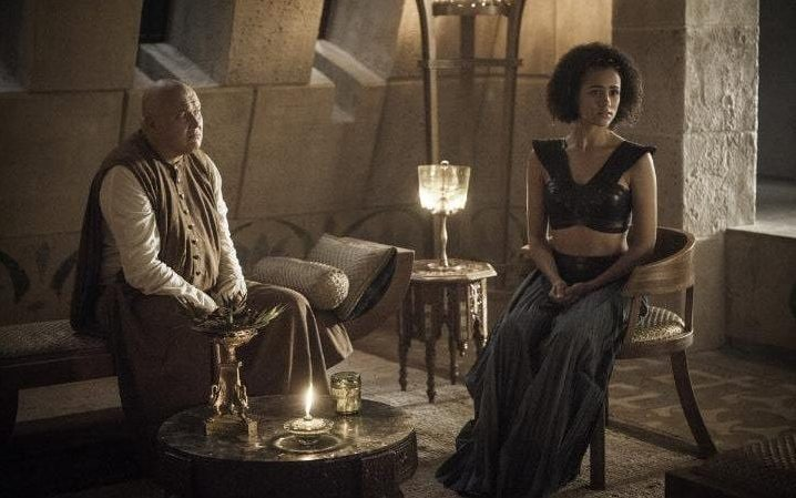 Conleth Hill as Varys and Nathalie Emmanuel as Missandei in Game of Thrones season six, episode two