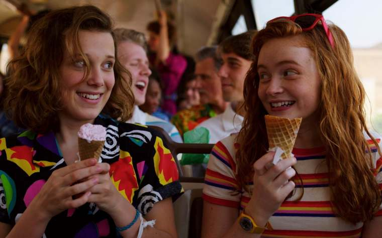 Millie Bobby Brown as Eleven and Sadie Sink as Max