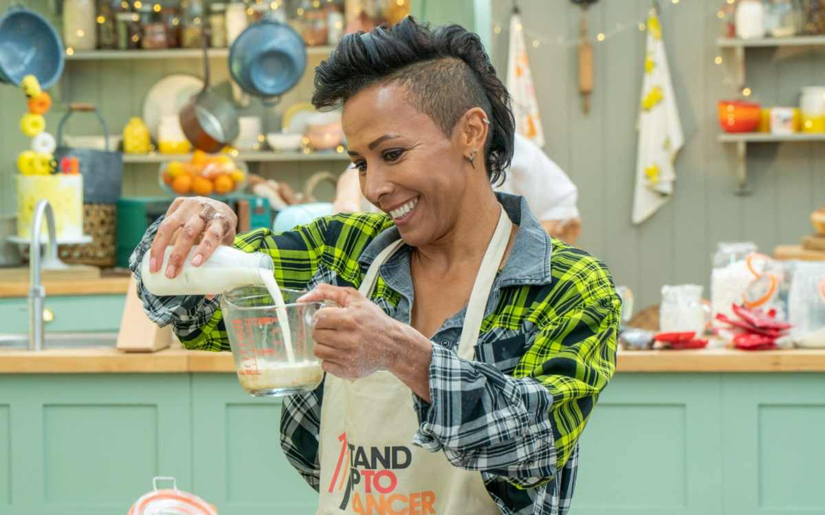 With two Olympic gold medals under her belt, measuring some milk should be a piece of cake for Dame Kelly Holmes