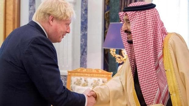 Image result for pics of boris johnson with saudis