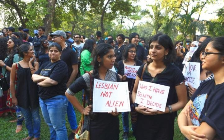 Protesters in India in 2013