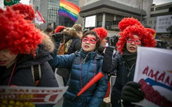 South Korean women protest against gender inequality and sexual harrassment in the workplace in Seoul.
