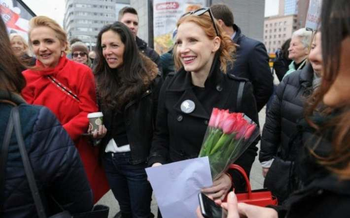 Jessica Chastain joins an International Women's Day rally in Warsaw, Poland to fight against the social, legal, political, moral and verbal violence experienced by women.