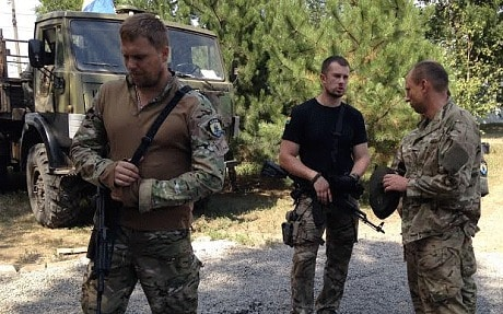 Andriy Biletsky, in black T-shirt, commander of Ukraine's Azov battalion (Tom Parfitt)