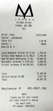A City banker ran up a £43,000 bill on champagne at a London nightclub, including a £5,000 tip for the waitress.