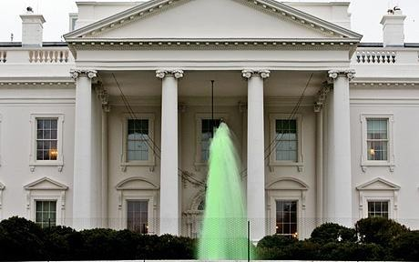 White House fountains run green for St Patrick's Day at Michelle Obama's request