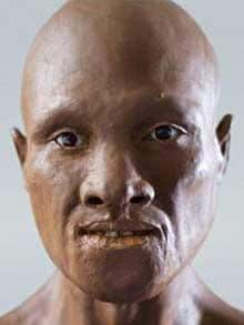 The first modern European Forensic artist Richard Neave reconstructed the face based on skull fragments from 35000 years ago.  Photo: BBC