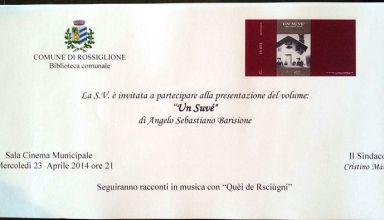 """Presentazione libro """"Un Suvè"""" di Angelo Sebastiano Barisione"""