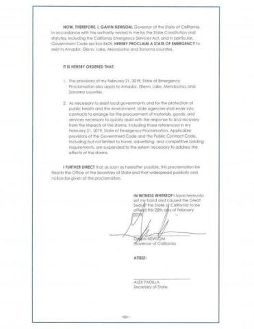 Documento de la declaración de emergencia del gobernador de California