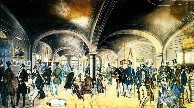 Az 1848-as forradalmi események egyik színhelye, a pesti Pilvax kávéház. Preiszler József színezett tollrajza. Fotó: Wikipédia