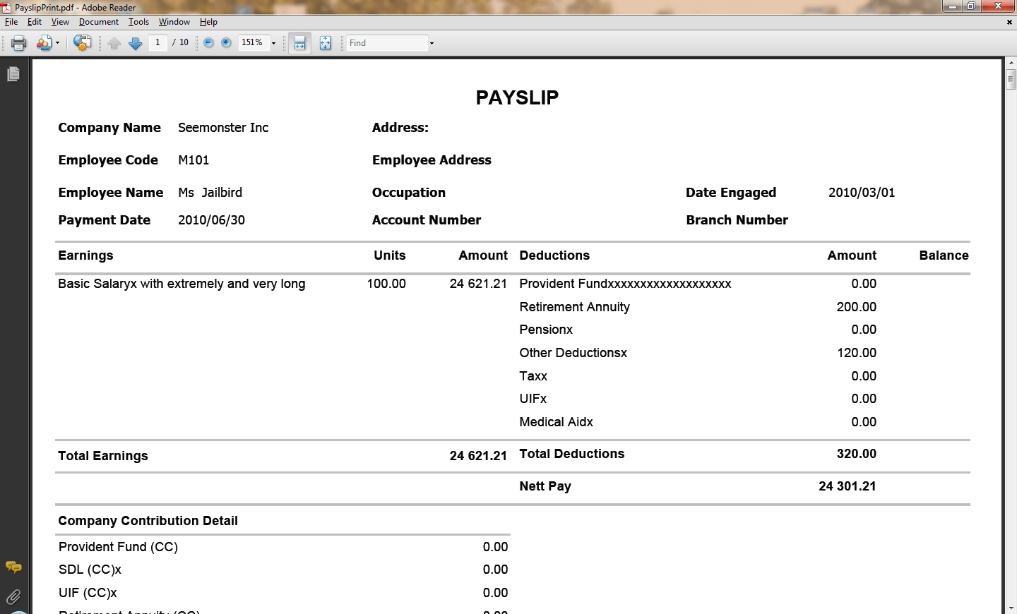 Doc673473 Salary Slip Sample in Word Format salary payslip – Payslip Sample Format
