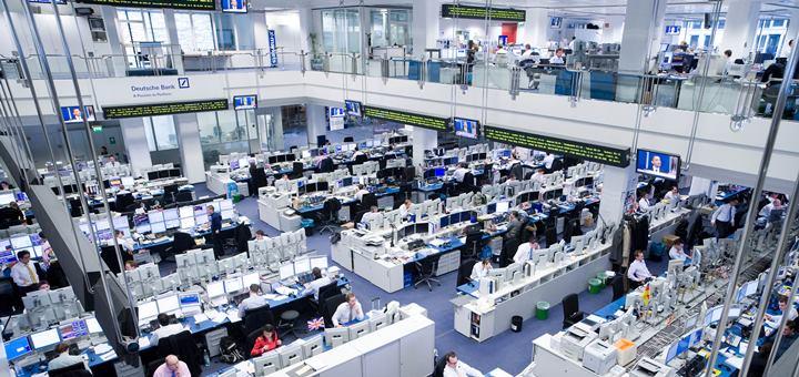Sala de mercado bursátil del Deutsche Bank. Imagen: Deustche Bank